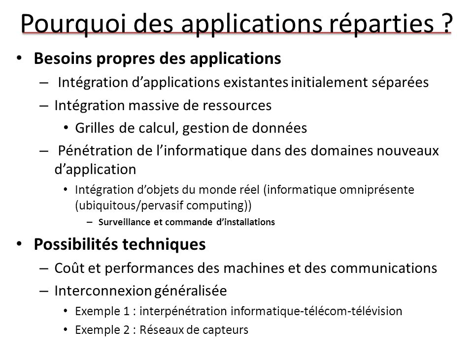 Pourquoi des applications réparties