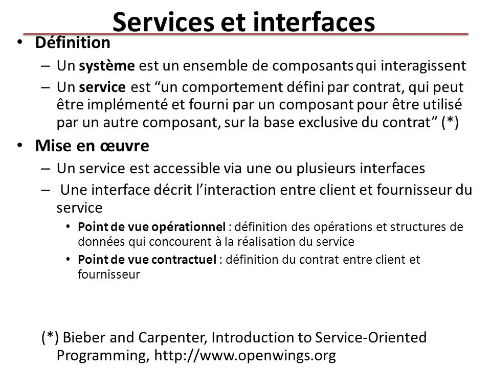 Services et interfaces