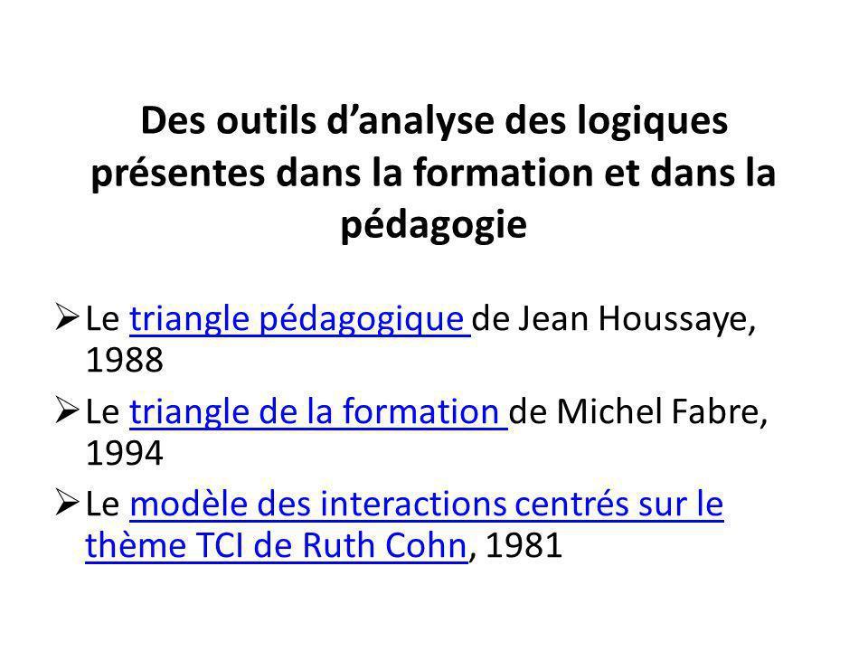 Des outils d'analyse des logiques présentes dans la formation et dans la pédagogie