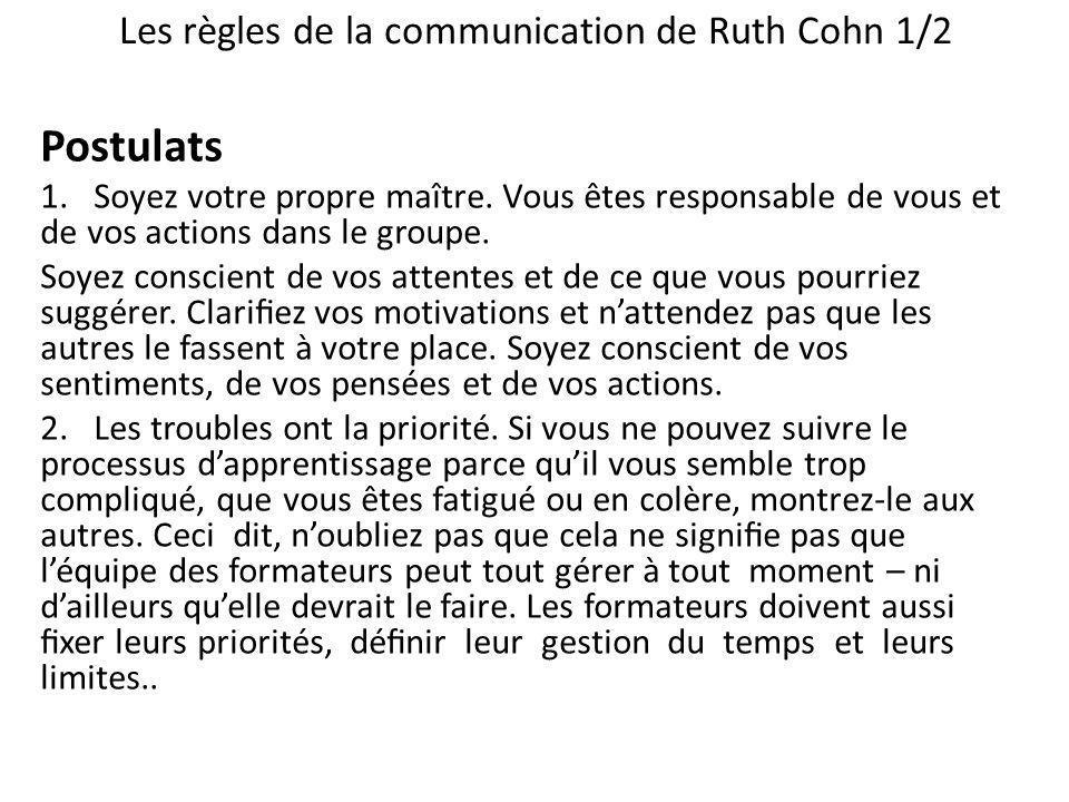Les règles de la communication de Ruth Cohn 1/2