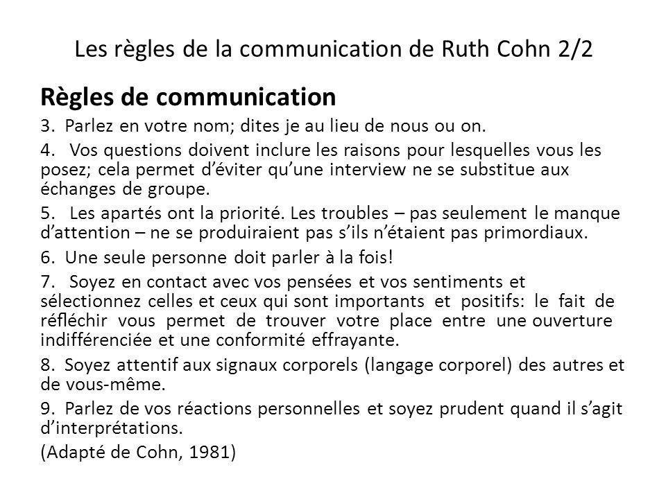 Les règles de la communication de Ruth Cohn 2/2