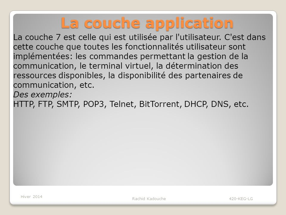 La couche application