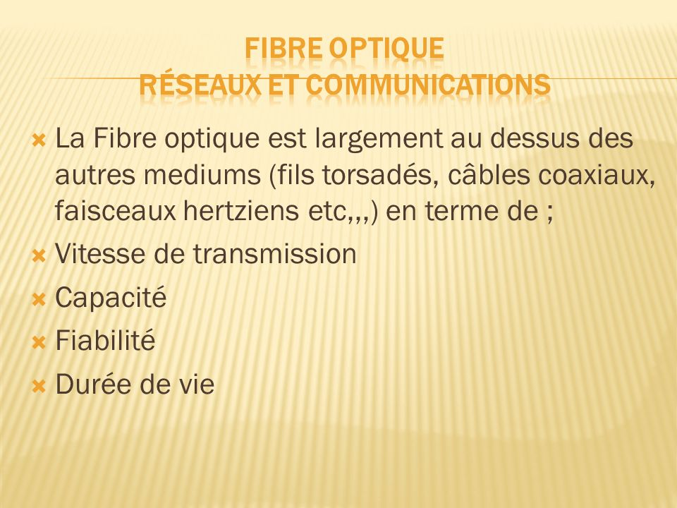 Fibre optique Réseaux et communications