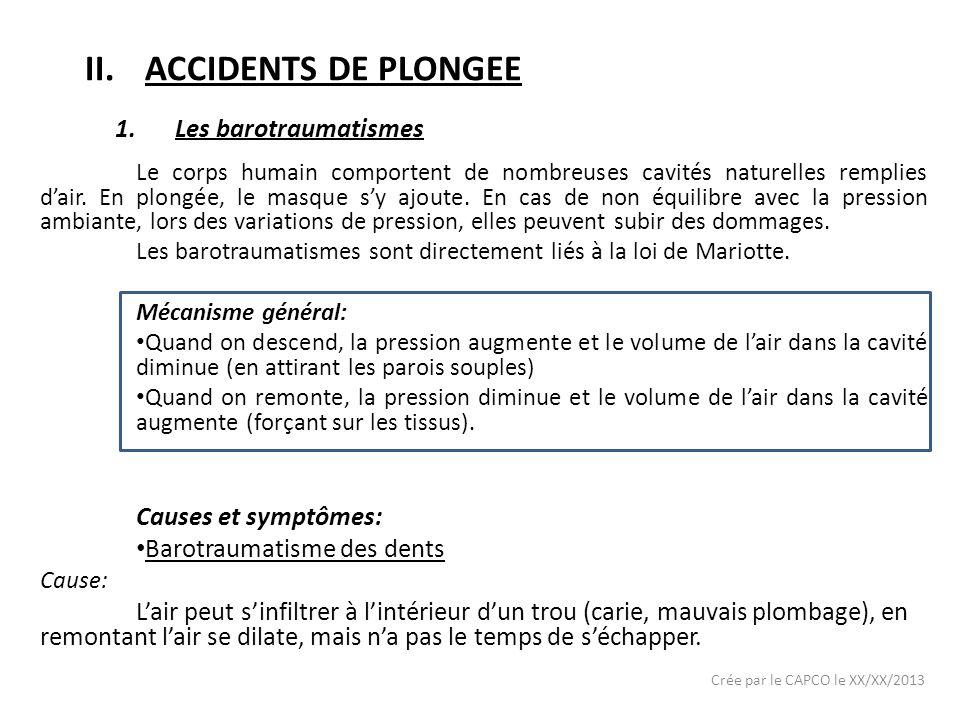 ACCIDENTS DE PLONGEE Les barotraumatismes Causes et symptômes: