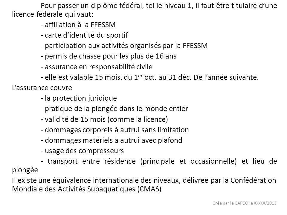 - affiliation à la FFESSM - carte d'identité du sportif