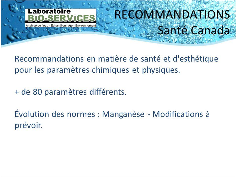 RECOMMANDATIONS Santé Canada