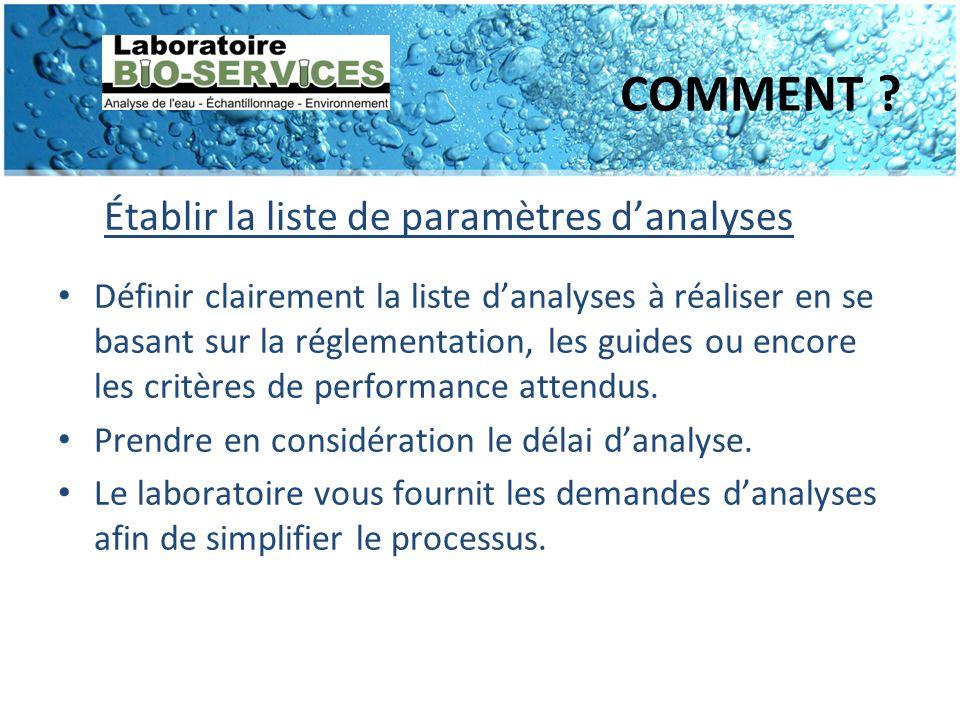 COMMENT Établir la liste de paramètres d'analyses