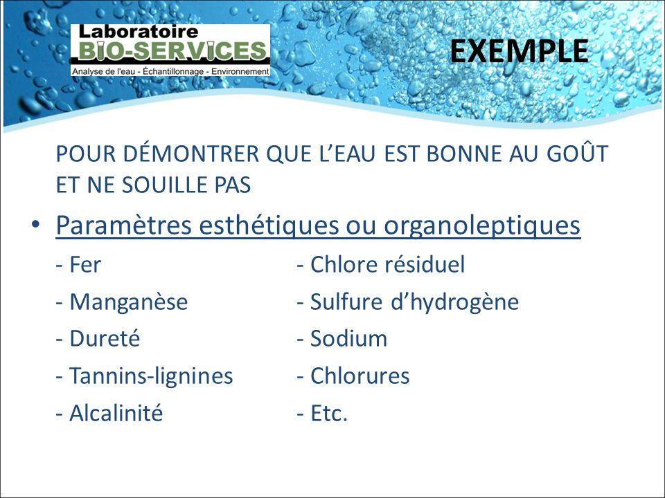 EXEMPLE Paramètres esthétiques ou organoleptiques