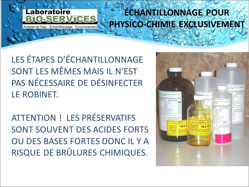 ÉCHANTILLONNAGE POUR PHYSICO-CHIMIE EXCLUSIVEMENT