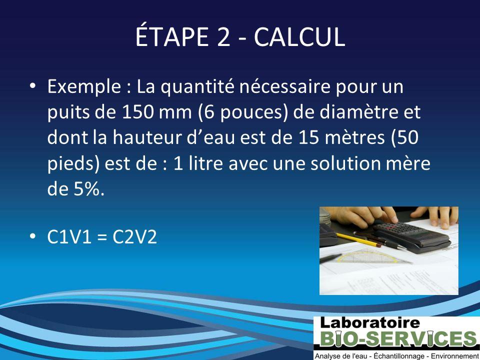 ÉTAPE 2 - CALCUL