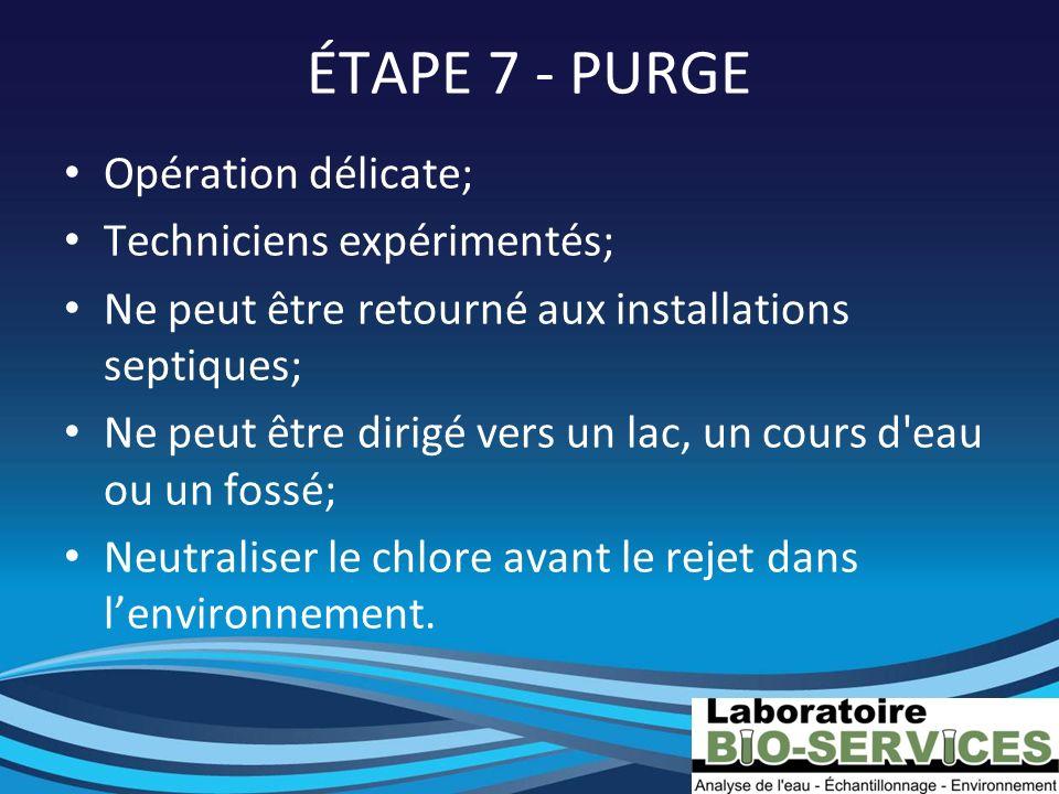 ÉTAPE 7 - PURGE Opération délicate; Techniciens expérimentés;