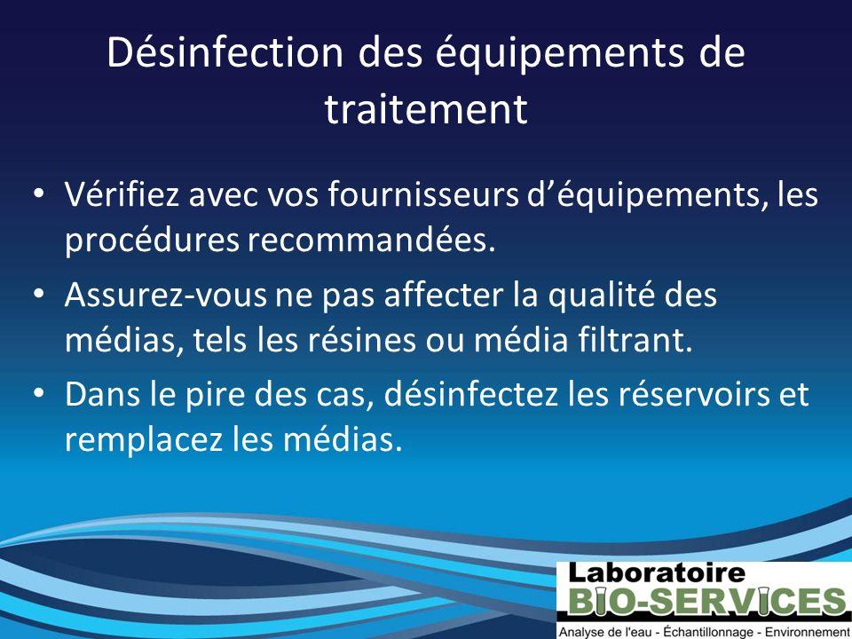 Désinfection des équipements de traitement