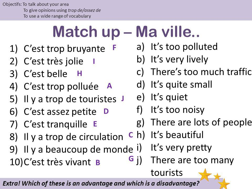 Match up – Ma ville.. It's too polluted C'est trop bruyante