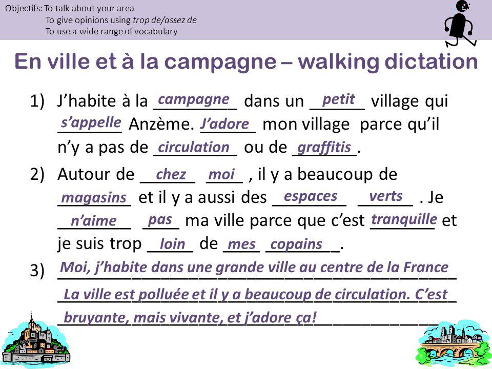En ville et à la campagne – walking dictation
