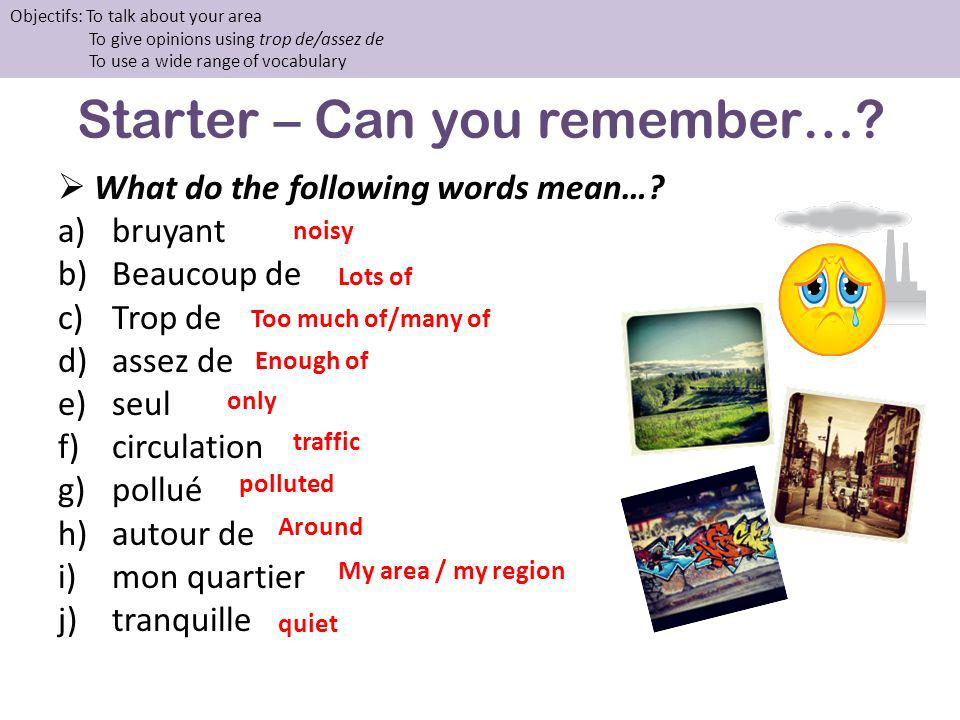 Starter – Can you remember…