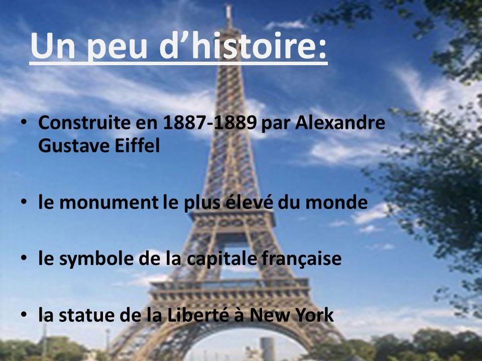 Un peu d'histoire: Construite en 1887-1889 par Alexandre Gustave Eiffel. le monument le plus élevé du monde.