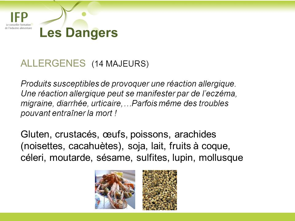 Les Dangers ALLERGENES (14 MAJEURS)