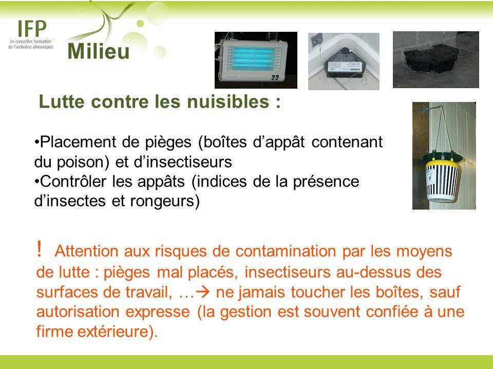 MilieuLutte contre les nuisibles : Placement de pièges (boîtes d'appât contenant du poison) et d'insectiseurs.