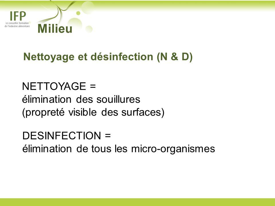 Milieu Nettoyage et désinfection (N & D)
