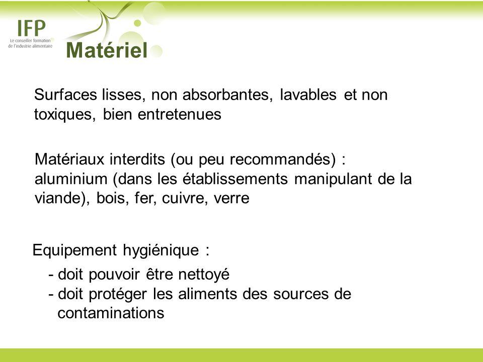 MatérielSurfaces lisses, non absorbantes, lavables et non toxiques, bien entretenues. Matériaux interdits (ou peu recommandés) :