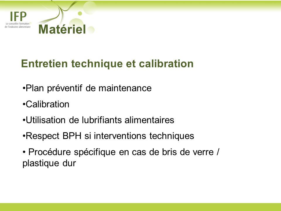 Matériel Entretien technique et calibration