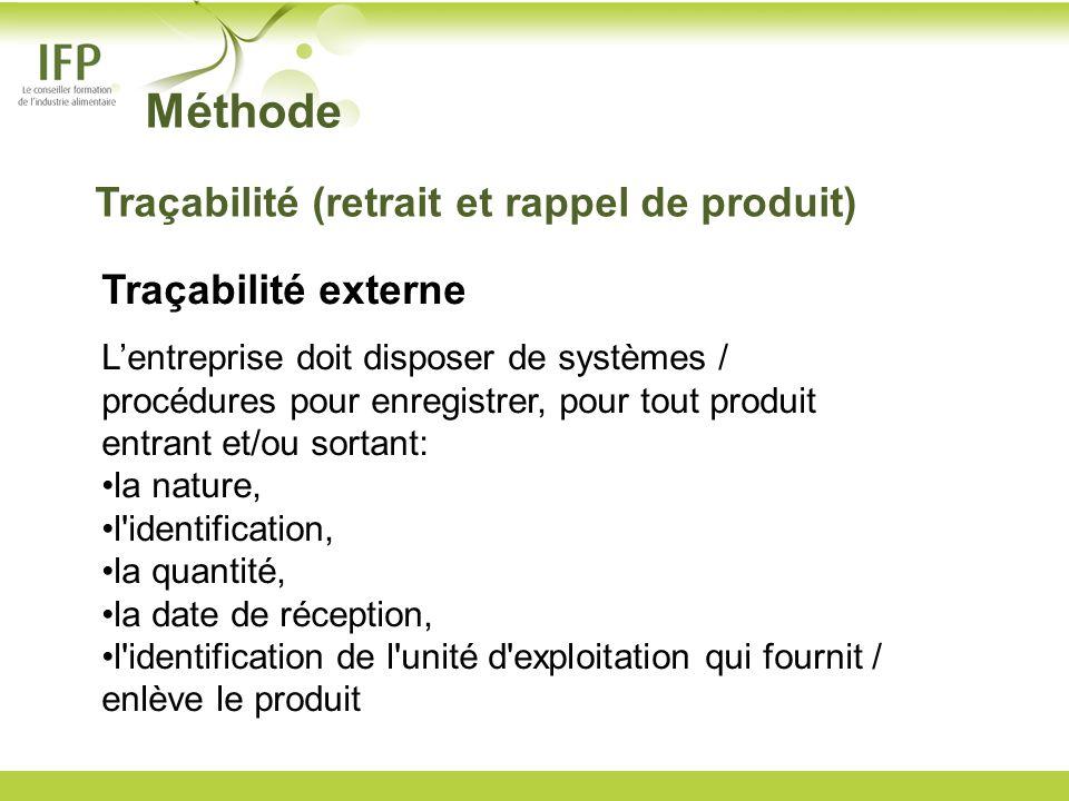 Méthode Traçabilité (retrait et rappel de produit) Traçabilité externe