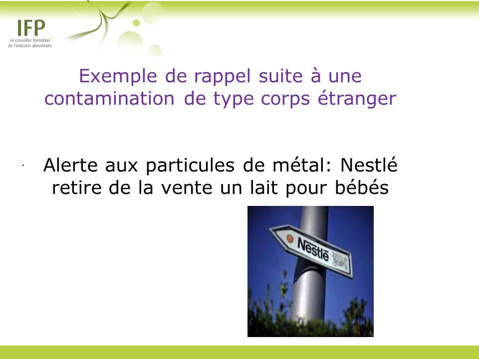 Exemple de rappel suite à une contamination de type corps étranger Alerte aux particules de métal: Nestlé retire de la vente un lait pour bébés