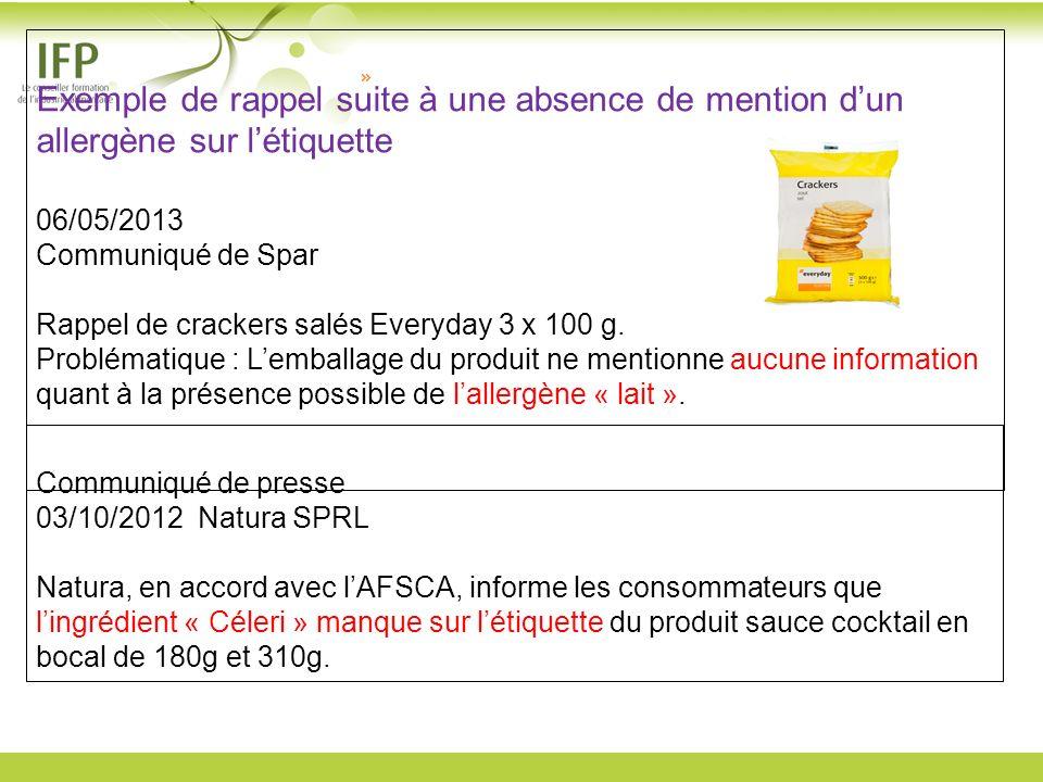 Exemple de rappel suite à une absence de mention d'un allergène sur l'étiquette