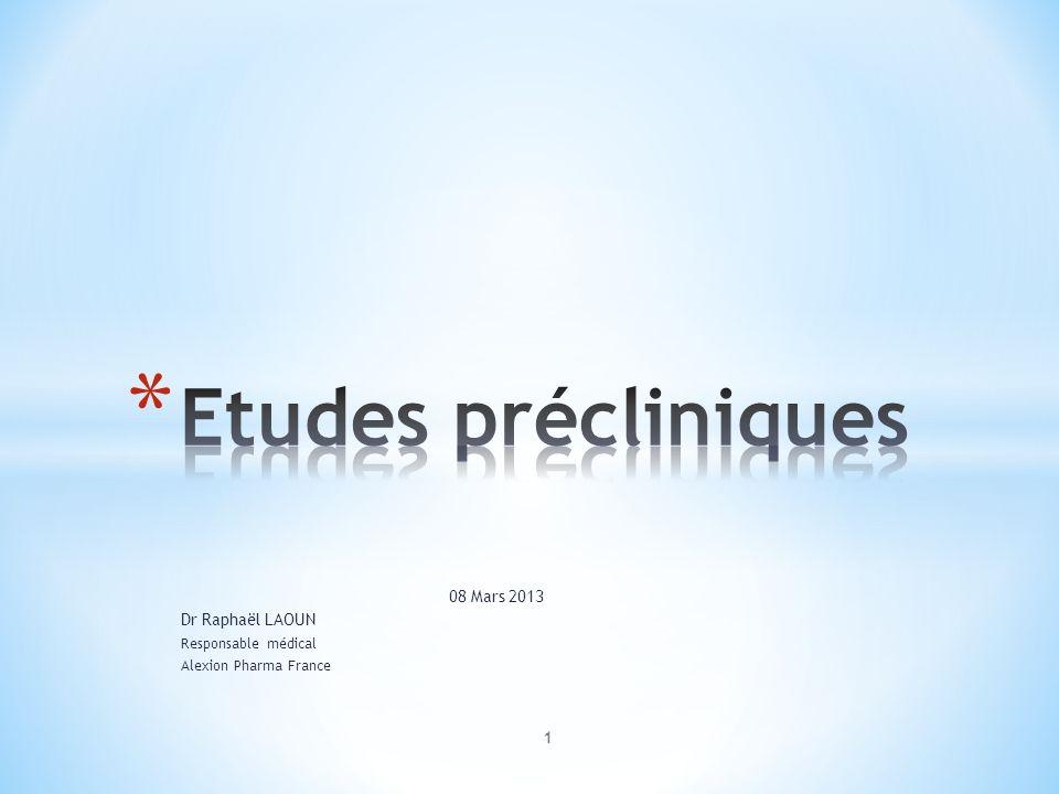 Etudes précliniques 08 Mars 2013 Dr Raphaël LAOUN Responsable médical