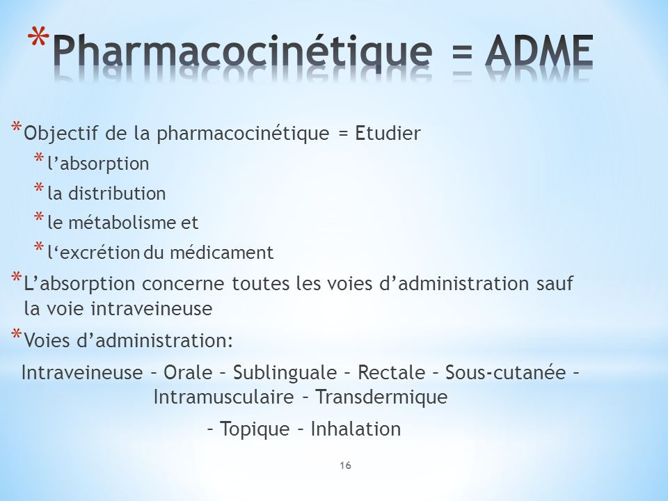 Pharmacocinétique = ADME