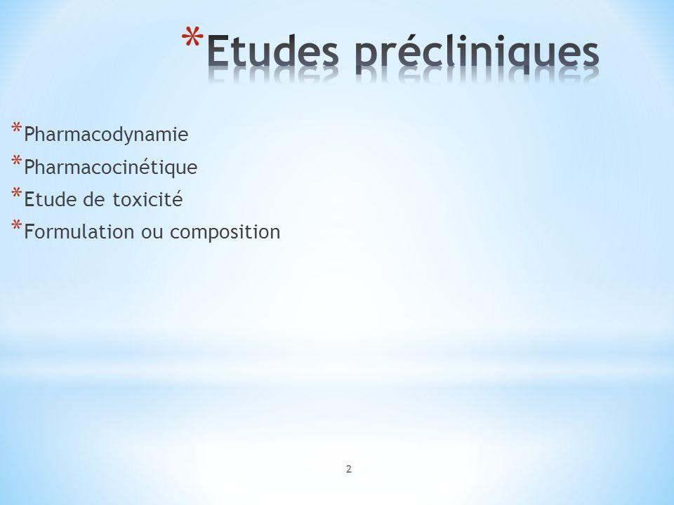 Etudes précliniques Pharmacodynamie Pharmacocinétique