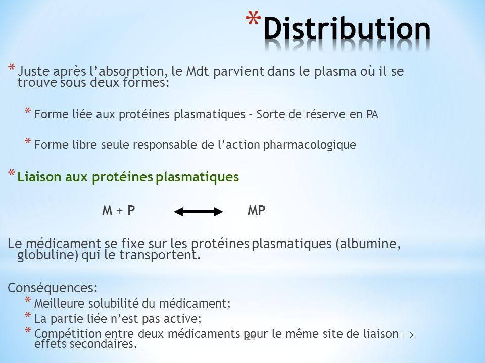Distribution Juste après l'absorption, le Mdt parvient dans le plasma où il se trouve sous deux formes: