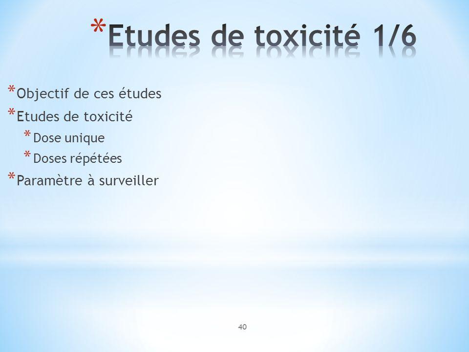 Etudes de toxicité 1/6 Objectif de ces études Etudes de toxicité