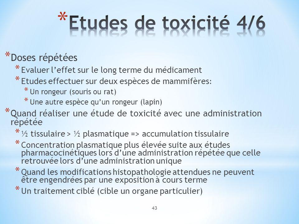 Etudes de toxicité 4/6 Doses répétées