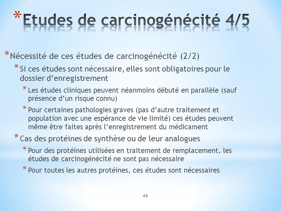 Etudes de carcinogénécité 4/5