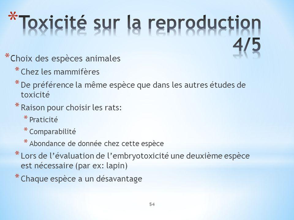 Toxicité sur la reproduction 4/5