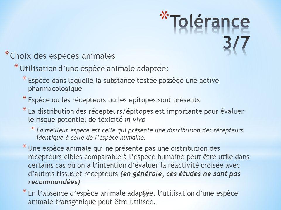 Tolérance 3/7 Choix des espèces animales