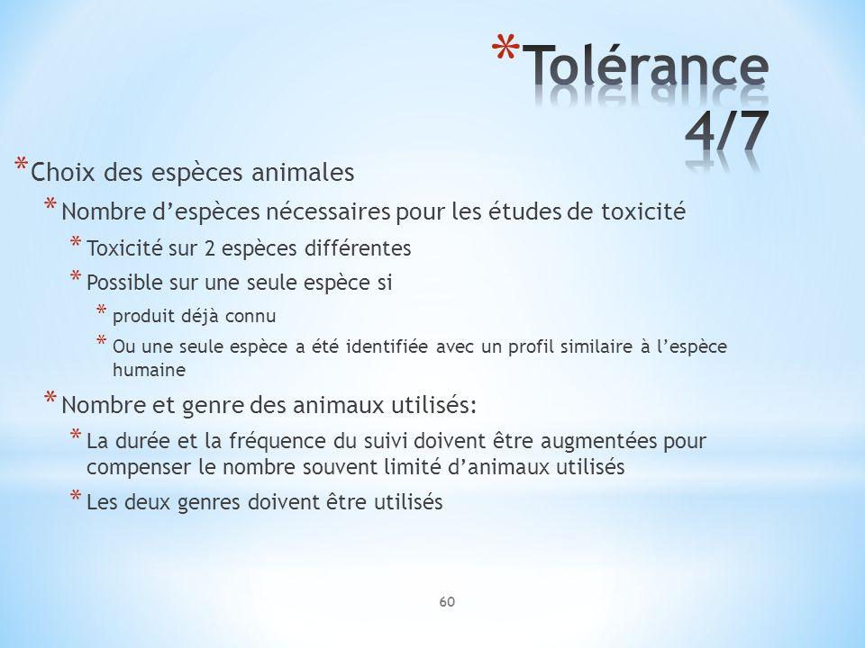 Tolérance 4/7 Choix des espèces animales
