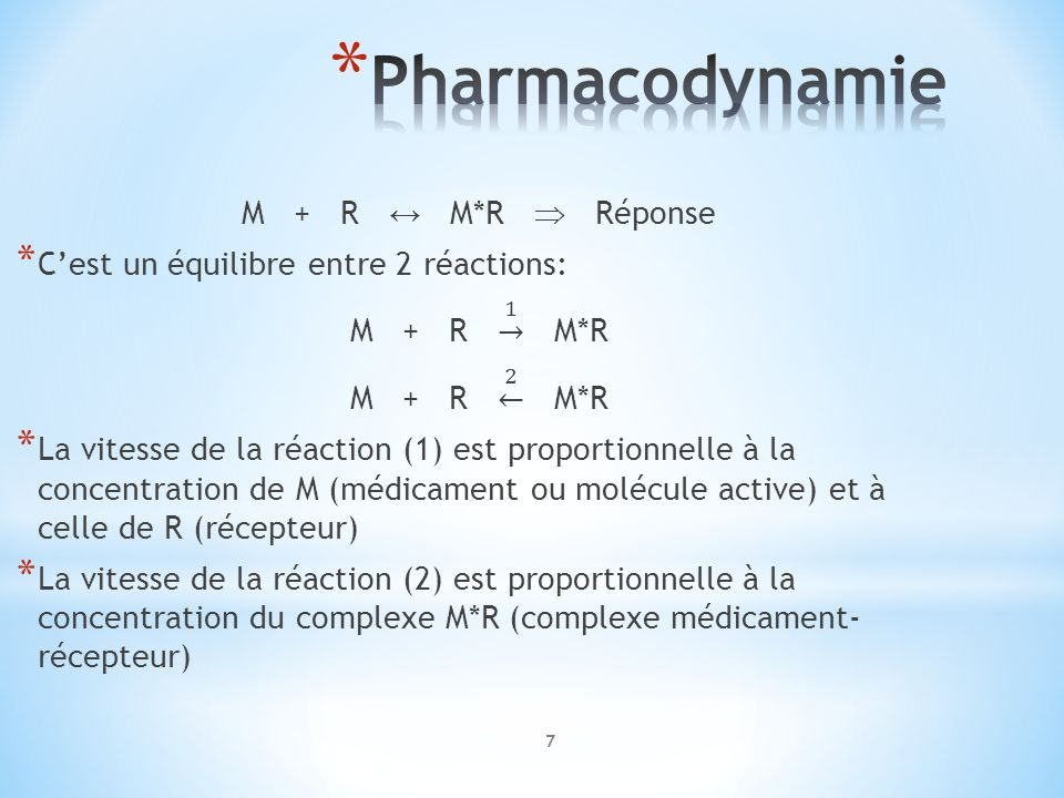 Pharmacodynamie M + R ↔ M*R  Réponse