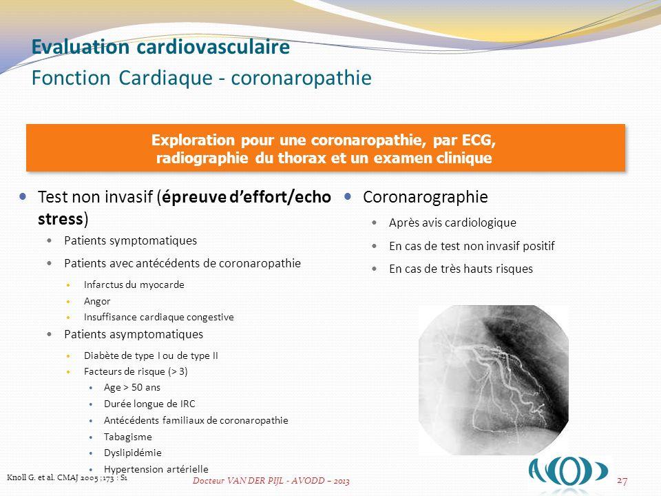 Evaluation cardiovasculaire Fonction Cardiaque - coronaropathie