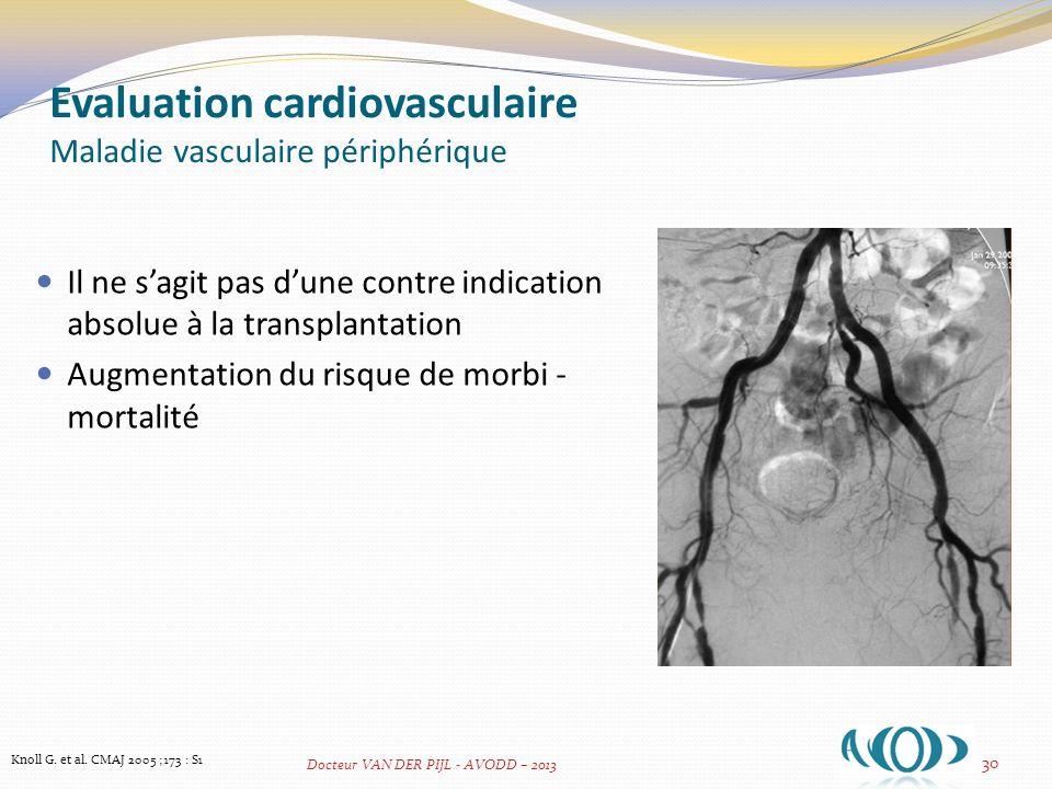 Evaluation cardiovasculaire Maladie vasculaire périphérique