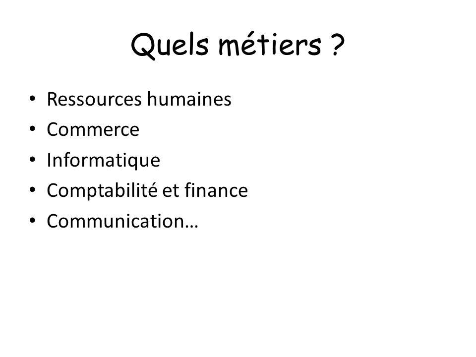 Quels métiers Ressources humaines Commerce Informatique