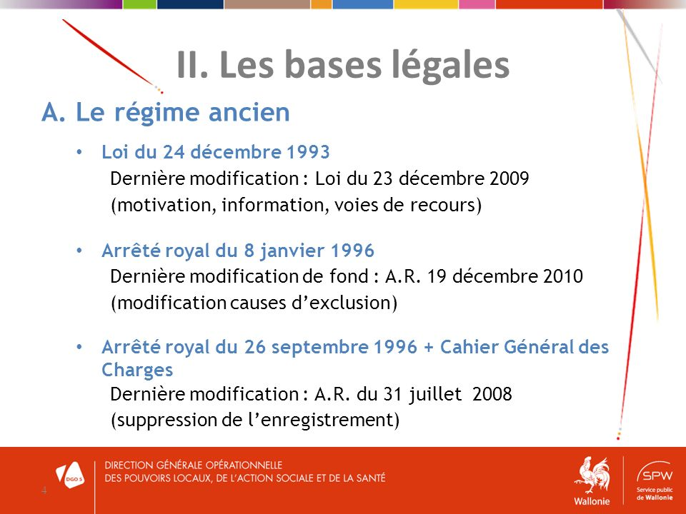 II. Les bases légales A. Le régime ancien Loi du 24 décembre 1993