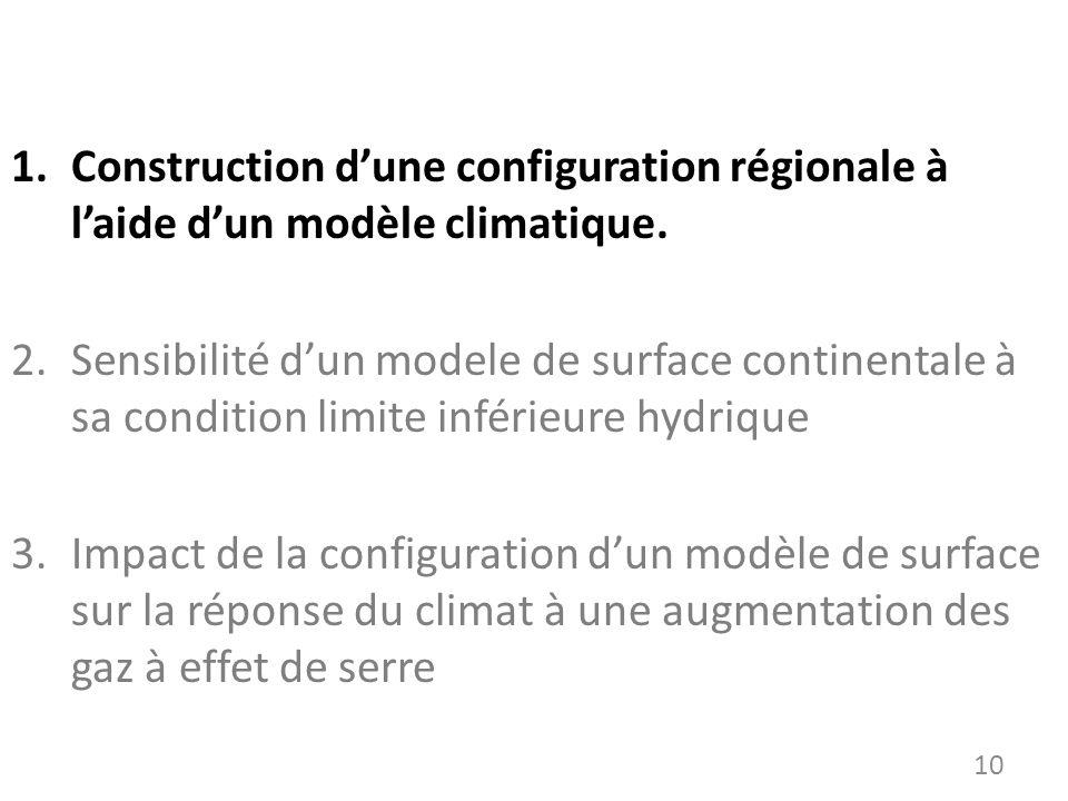 Construction d'une configuration régionale à l'aide d'un modèle climatique.