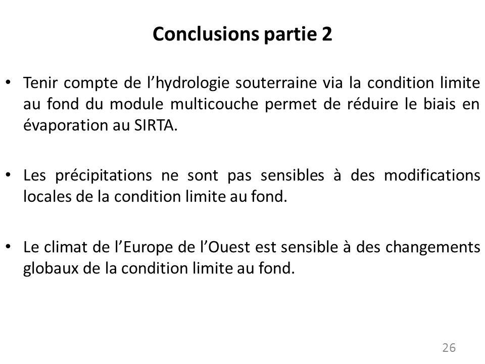 Conclusions partie 2