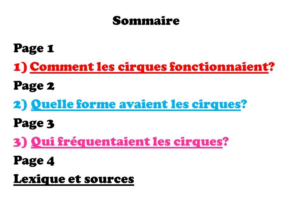 Sommaire Page 1. Comment les cirques fonctionnaient Page 2. 2) Quelle forme avaient les cirques
