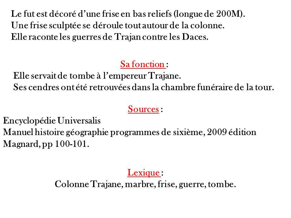 Colonne Trajane, marbre, frise, guerre, tombe.
