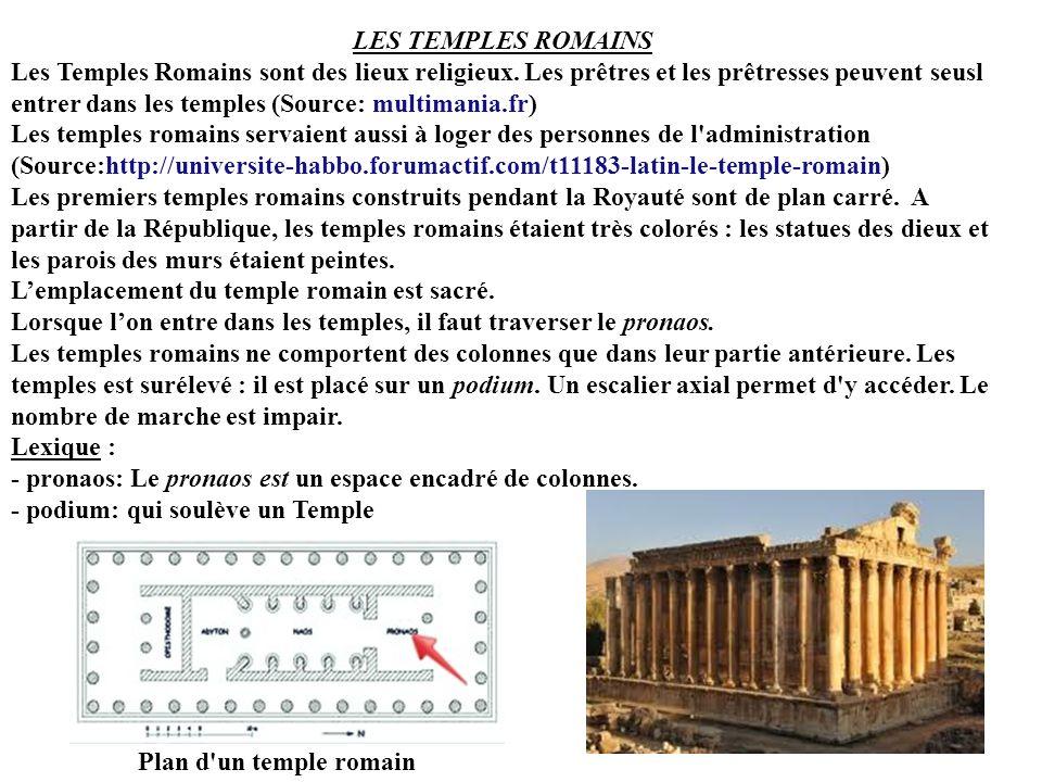 LES TEMPLES ROMAINS