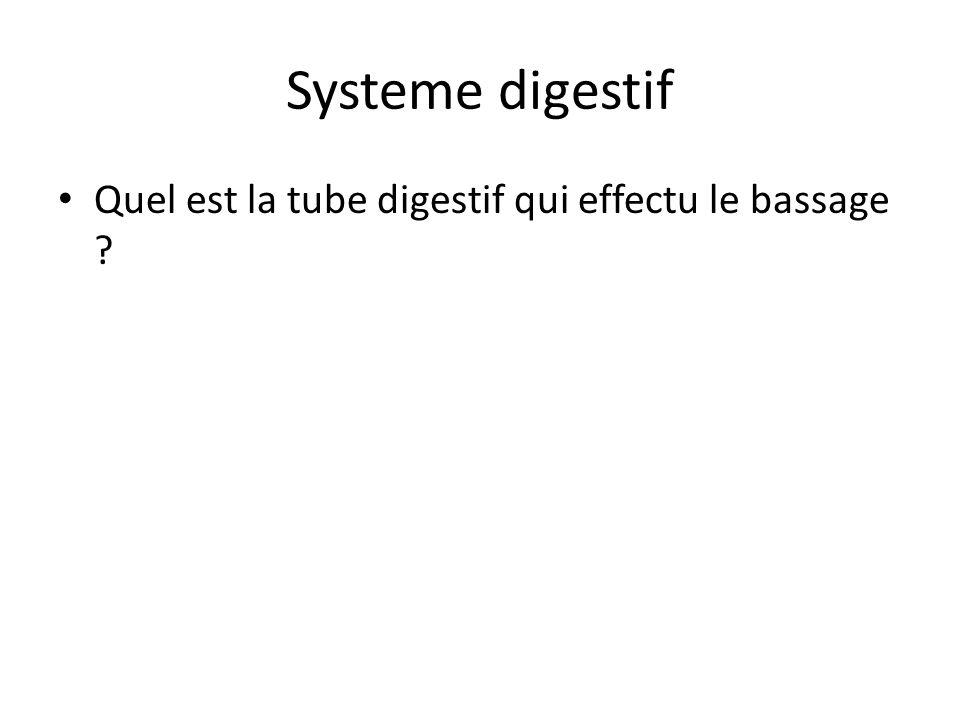 Systeme digestif Quel est la tube digestif qui effectu le bassage