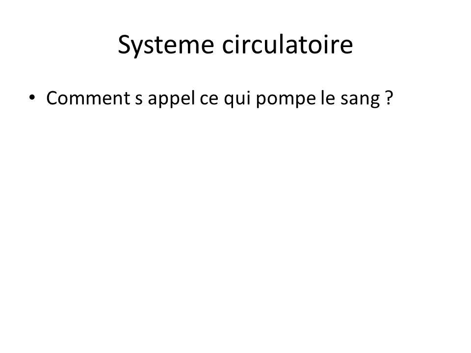 Systeme circulatoire Comment s appel ce qui pompe le sang